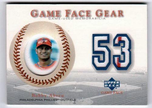 MLB 2003 UPPER DECK GAME FACE GEAR BOBBY ABREU DUEL PINSTRIPE JERSEY MNT