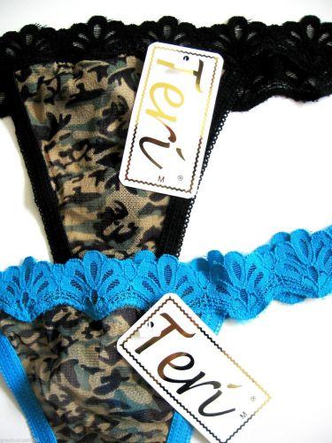 A133 Teri Intimates Scalloped Lace Waistband Jungle Pattern Sheer Mesh Thong NEW