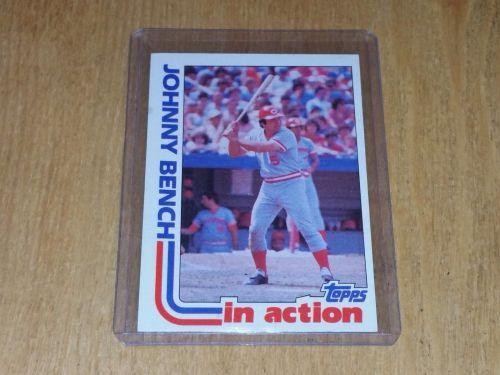 VINTAGE JOHNNY BENCH REDS HOF 1982 TOPPS BASEBALL #401 GD-VG