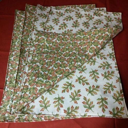 Set of 4 handmade cloth placemats fall Oak leaves motif 100% Cotton