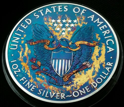 2015 Rainbow Toned Silver American Eagle 1 ounce fine silver uncirculated #a269