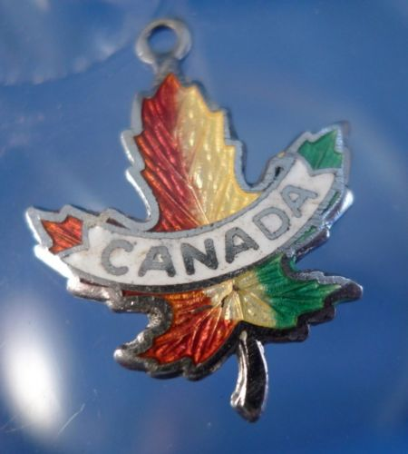 CANADA MAPLE LEAF : Enamel & Sterling Silver Travel Souvenir Charm