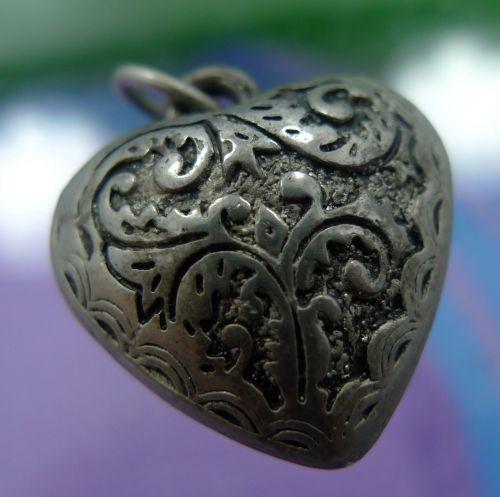 Vintage Nouveau Silver Heart Charm Fat Hollow Puffy Repousse