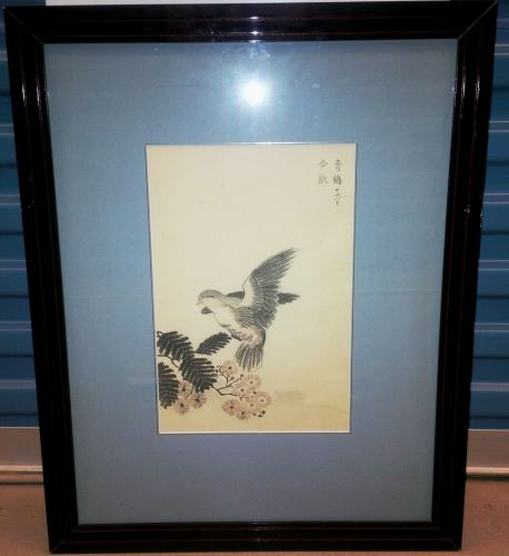 "ORIGINAL MAEKAWA BUNREI (1838-1917) ""DOVE ON FLOWERING LOTUS"" WOODBLOCK"