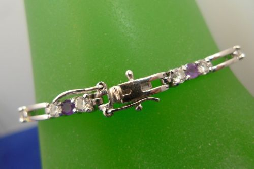 "VERY Purple Amethyst 7.25"" Bracelet Sterling 925 Silver w/ White Gemstone Accent"