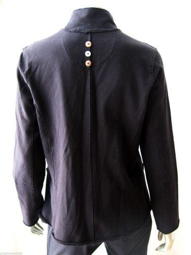 White Lotus NEW Black Stretch Cotton Ragged Hem Long Sleeve 8-Button Blazer S PR