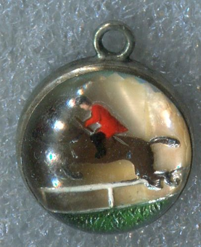 GLASS BUBBLE CHARM : HORSE & JOCKEY UNDER GLASS