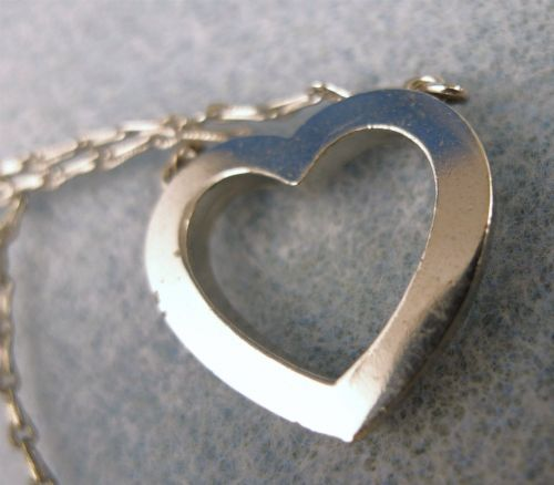 Vintage Sterling Rhinestone Heart Pendant on 16 inch Including Chain & Heart