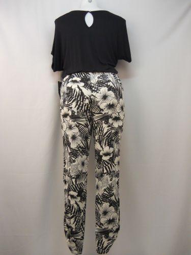 Fever Women's Jumpsuit Size M Black Floral Scoop Neck Tapered Leg Dolman Sleeves