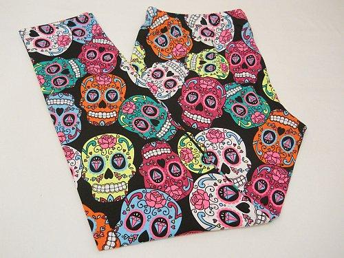 SIZE XL Women Skull Leggings Multi Colored HALLOWEEN GOTHIC Skinny Leg Inseam 29
