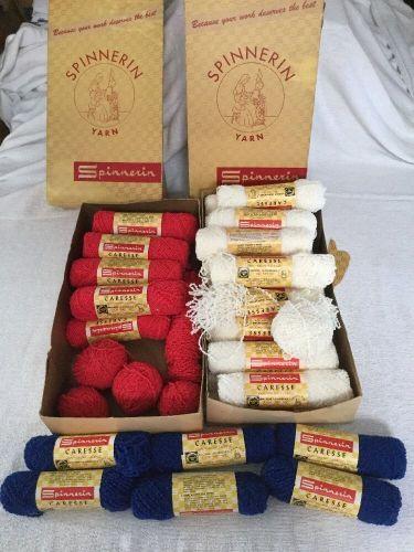 Vintage 39 Skeins SPINNERIN Caresse ORLON Acrylic YARN Red White Blue