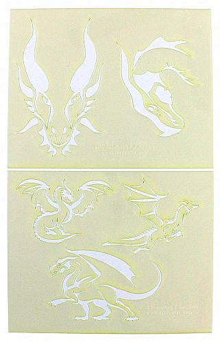 Dragon Stencils-2 Piece Stencil Set -Mylar 14 Mil Painting/CraftsTemplate