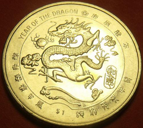 Liberia 2000 Dollar Gem Unc~Millenium~Chinese Dragon~Free Shipping