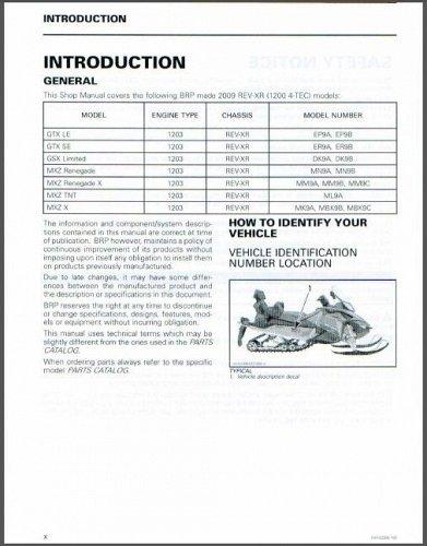 2009-2010 Ski-Doo REV XR Service Repair Manual CD .... BRP SkiDoo GSX, GTX, MXZ