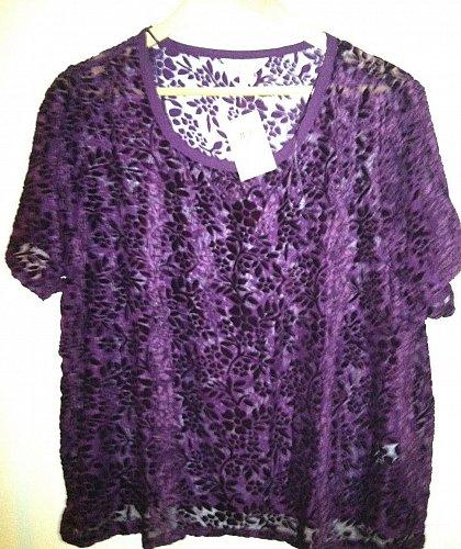 Lucky Brand NWT Purple and Black Dressy Tee Women`s XL