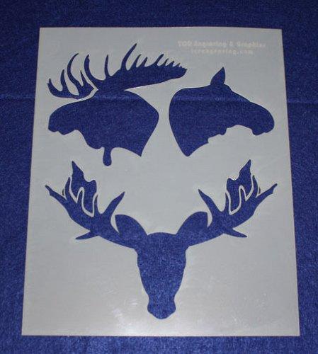 Moose Stencils 2 pc set Painting/Crafts/Stencil/Template -Mylar 14 Mil