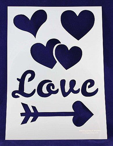 1 Piece -Mylar 14 Mil Hearts/Valentines Day Stencils Painting/Crafts/Stencil