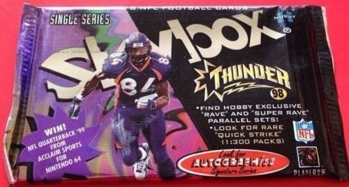 1998 football pack Fleer Skybox Thunder HOBBY single series Peyton Manning auto?