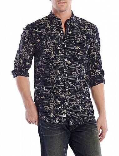 Lucky Brand Men`s XL White Label Fit Left Coast Shirt