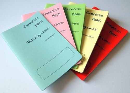 """5 x A5 style School Practice Books / Writing Exercise Books. """"TRAINING LINES"""""""