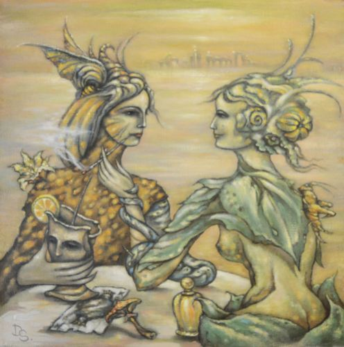 Original surreal hand-made acrylic/oil painting on canvas - 71 × 71 cm/28 x 28 in