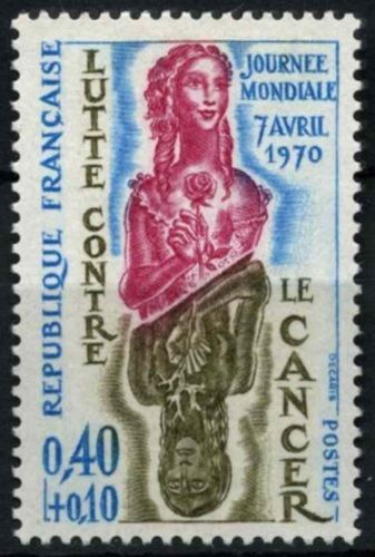 """France WHO """" Fight Cancer"""" Day mnh 1970"""