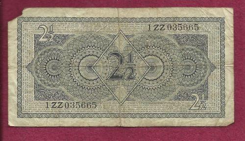 Netherland 2 1/2 Gulden 1949 Banknote 1ZZ035665 - WWII Era Currency!