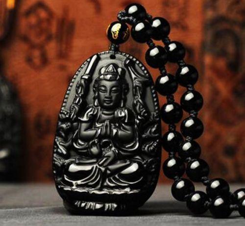 Black BUDDHA kwan yin necklace