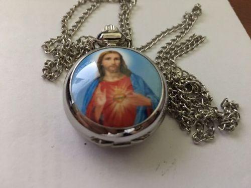 Cross Jesus mini pocket watch with chain FREE SHIPPING