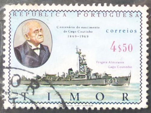 Stamp Timor 1969 Personalities G. Coutinho (1869-1959) Naval Vessel 4.50 Escudo 1v