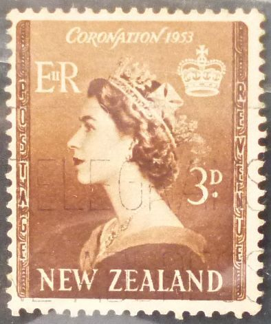 Stamp New Zealand 1953 Queen Elizabeth II Coronation 3 d