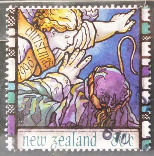 Stamp New Zealand 1996 Christmas Angel & Shepherd 80c