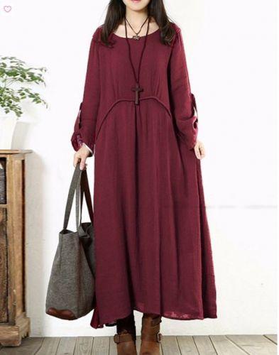 long sleeved loose elegant dress red