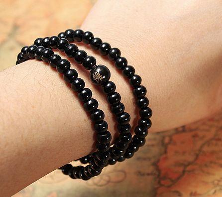 Black buddha beads necklace