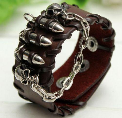 skull head brown leather punk bracelet