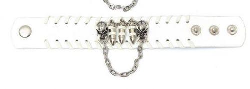 skull head white leather punk bracelet