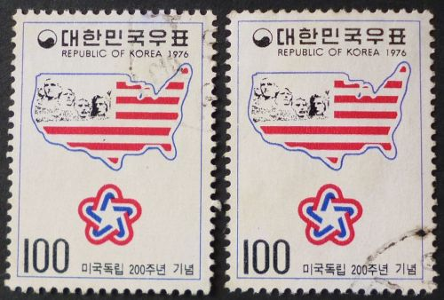 Stamp South Korea 1976 Map and Mt. Rushmore monument : American Bicentennial 100 won