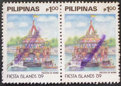 Stamp Philippines 1989 Fiesta Islands Pagoda Sa Wawa 1 Piso Pair