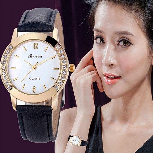 Geneva Women's Diamond Analog Leather Quartz Wrist Watch