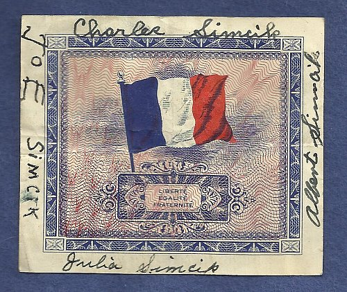 France 5 Francs 1944 Banknote 23572066 Allied Military Currency (AMC) WWII Currency