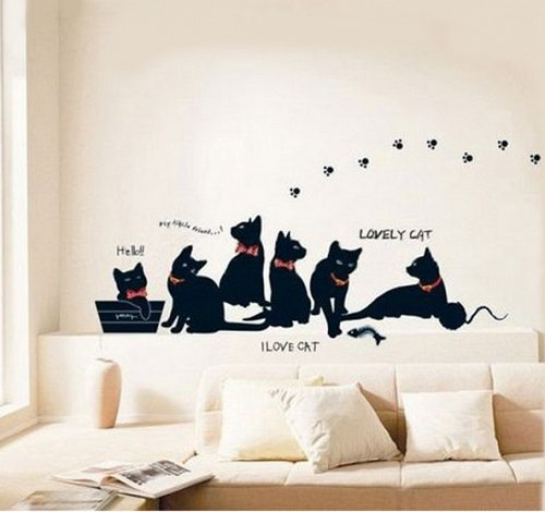 cat home decor wall sticker