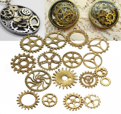 17pcs gears parts diy jewelry pendant charms