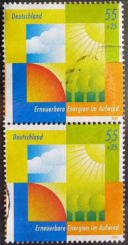 Stamp Germany 2004 Protecting the Environment - Renewable Energy 0.55 +0.25 Euro Pair