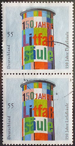 Stamp Germany 2005 The 150th Anniversary of the Billboard Pillart 0.55 Euro Pair