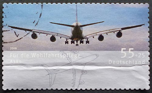 Stamp Germany 2008 Aircrafts Metropolitan area-traffic airplane airbus A380 (2005) 0.