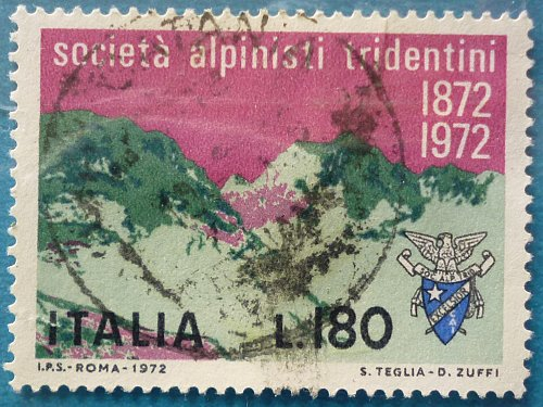 Stamp Italy 1972 The 100th Anniversary of the Tridentine Alpinist Society 180 Lire