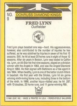 Fred Lynn 1987 Donruss Diamond Kings Baseball Card Baltimore Orioles