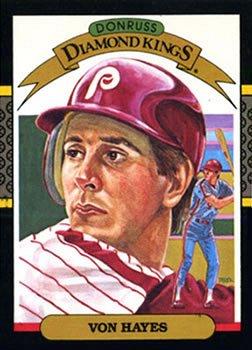 Von Hayes 1987 Donruss Diamond Kings Baseball Card Philadelphia Phillies