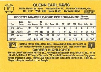 Glenn Davis 1987 Donruss Baseball Card Houston Astros