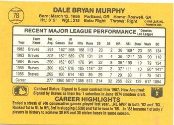 Dale Murphy 1987 Donruss Baseball Card Atlanta Braves
